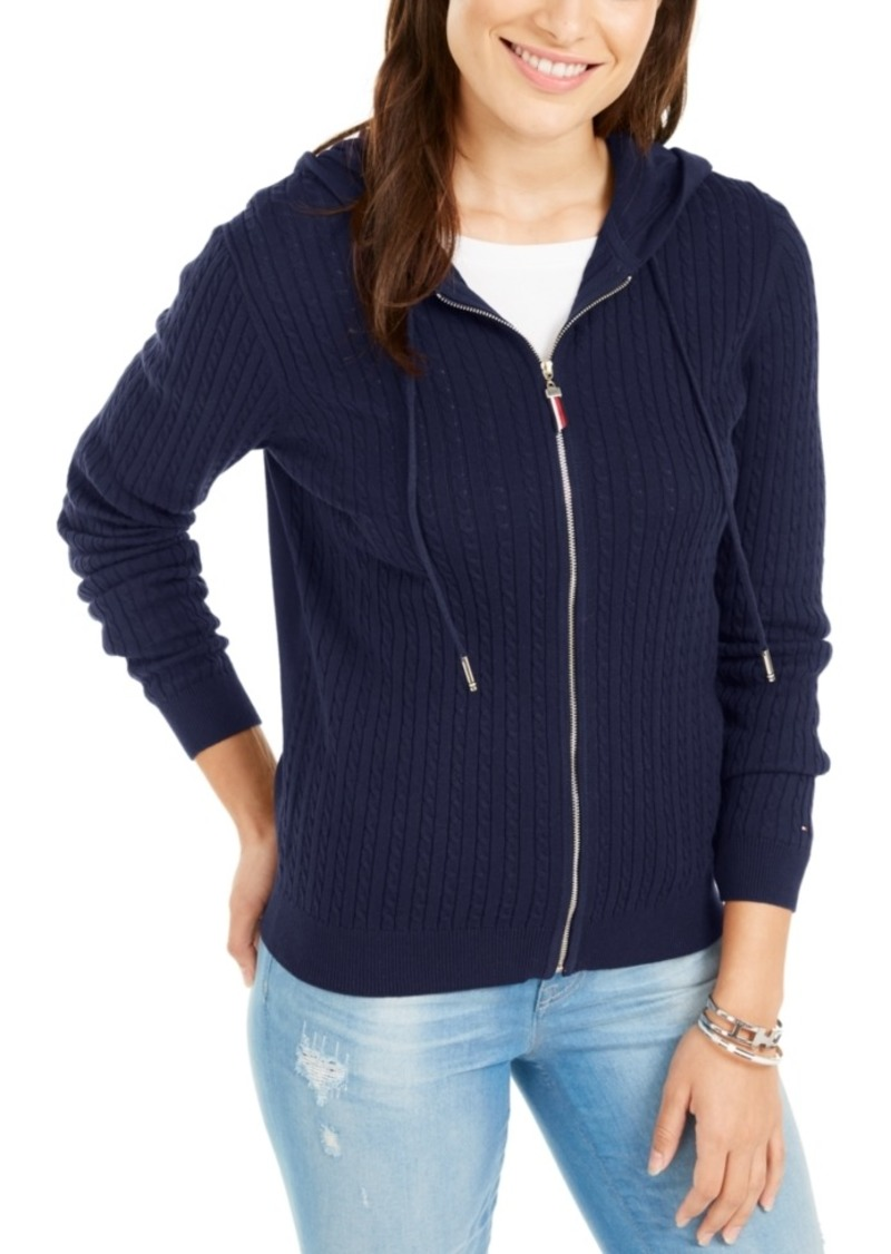 Tommy Hilfiger Cotton Cable Knit Varsity Hoodie