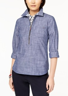 Tommy Hilfiger Cotton Chambray Half-Zip Top, Created for Macy's