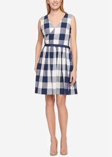Tommy Hilfiger Cotton Checkered Wrap Dress, Only at Macy's