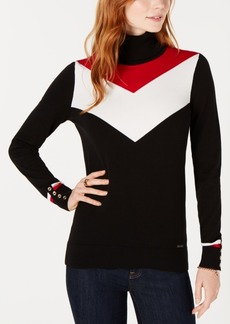 Tommy Hilfiger Cotton Chevron-Pattern Turtleneck Sweater, Created for Macy's