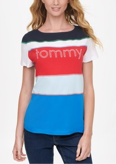 Tommy Hilfiger Cotton Colorblocked Logo T-Shirt, Created for Macy's