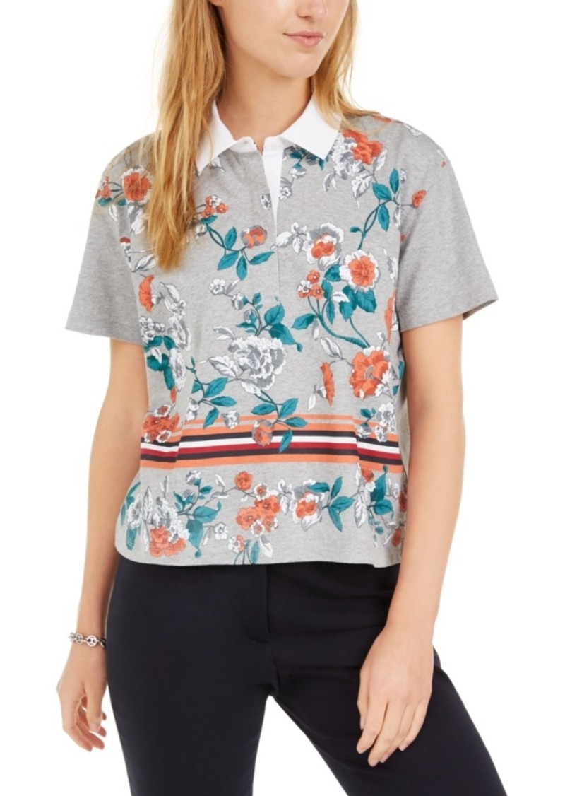 Tommy Hilfiger Cotton Cropped Floral Polo Shirt