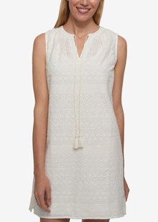 Tommy Hilfiger Cotton Eyelet Shift Dress, Only at Macy's