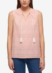 Tommy Hilfiger Cotton Eyelet Tassel Top, Created for Macy's