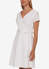 Tommy Hilfiger Cotton Lace Wrap Dress, Only at Macy's