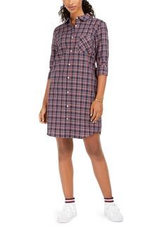 Tommy Hilfiger Cotton Logo-Back Plaid Shirtdress