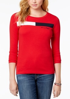 Tommy Hilfiger Cotton Logo Long-Sleeve Top, Created for Macy's