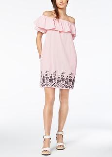 Tommy Hilfiger Cotton Off-The-Shoulder Embroidered Dress