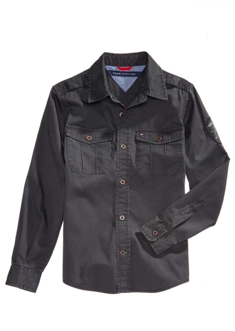 tommy hilfiger tommy hilfiger cotton patch shirt big boys 8 20
