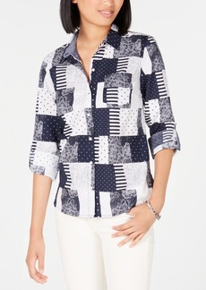 Tommy Hilfiger Cotton Patchwork-Print Blouse, Created for Macy's