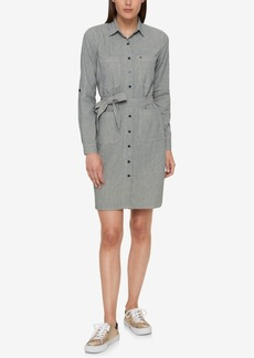 Tommy Hilfiger Cotton Pinstriped Shirtdress, Created for Macy's