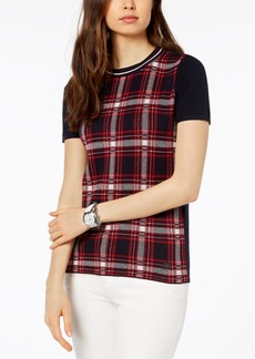 Tommy Hilfiger Cotton Plaid-Front Sweater, Created for Macy's