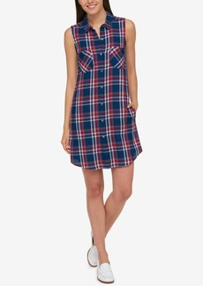 Tommy Hilfiger Cotton Plaid Shirtdress, Created for Macy's