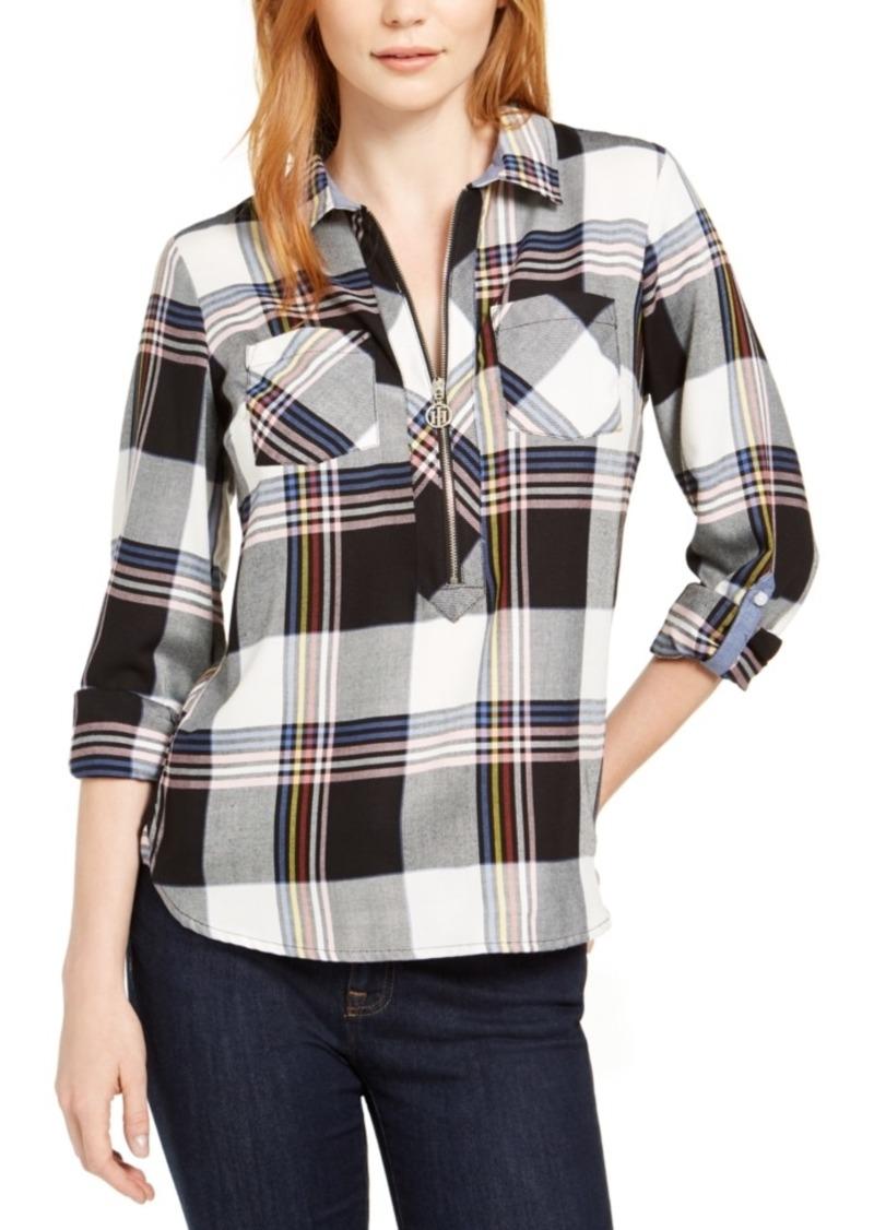 Tommy Hilfiger Cotton Plaid Zip Shirt