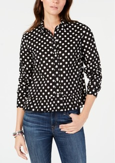 Tommy Hilfiger Cotton Polka Dot Peplum Button-Front Shirt, Created for Macy's