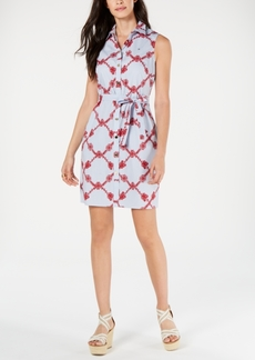 Tommy Hilfiger Cotton Printed Belted Shirtdress, Created for Macy's