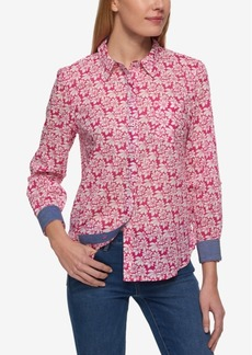 Tommy Hilfiger Cotton Printed Blouse, Created for Macy's