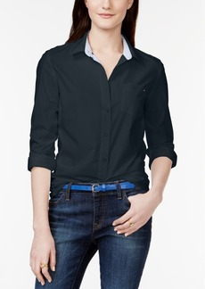 Tommy Hilfiger Cotton Roll-Tab Shirt, Created for Macy's