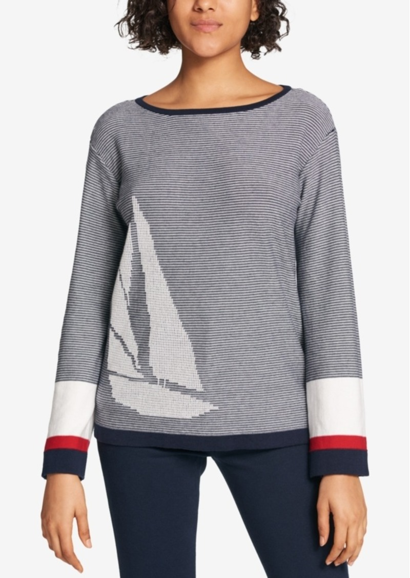 Tommy Hilfiger Tommy Hilfiger Cotton Sailboat Print Sweater Created