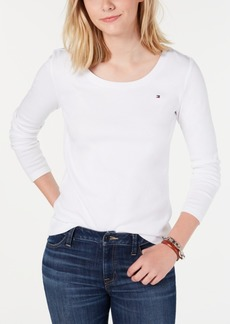 Tommy Hilfiger Cotton Scoopneck Top, Created for Macy's