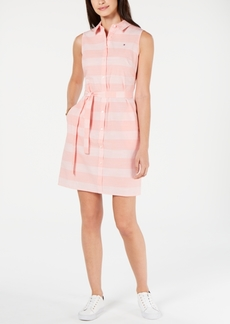 Tommy Hilfiger Cotton Striped Belted Shirtdress, Created for Macy's
