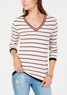 Tommy Hilfiger Cotton Striped V-Neck Sweater, Created for Macy's