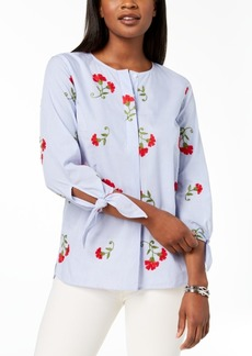 Tommy Hilfiger Cotton Tie-Sleeve Blouse, Created for Macy's