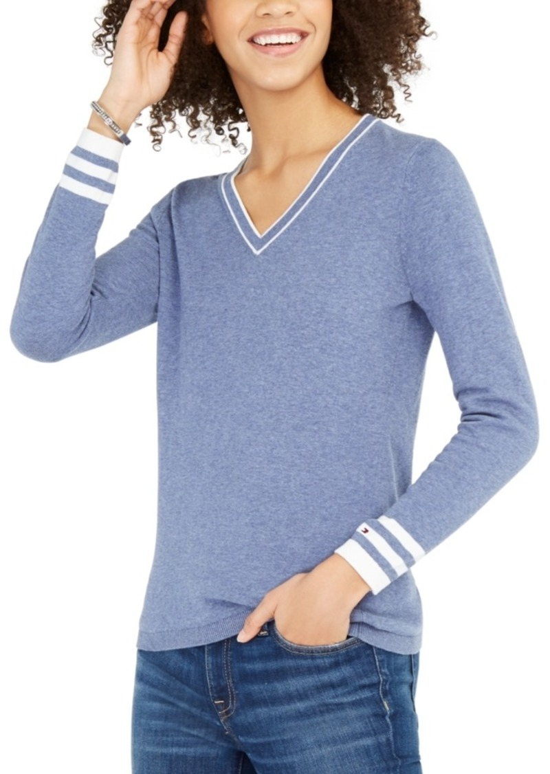 Tommy Hilfiger Cotton Tipped V-Neck Sweater