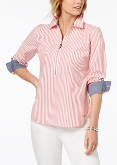 Tommy Hilfiger Cotton Zip-Front Popover Shirt, Created for Macy's