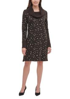 Tommy Hilfiger Cowlneck Leopard-Print Sweater Dress