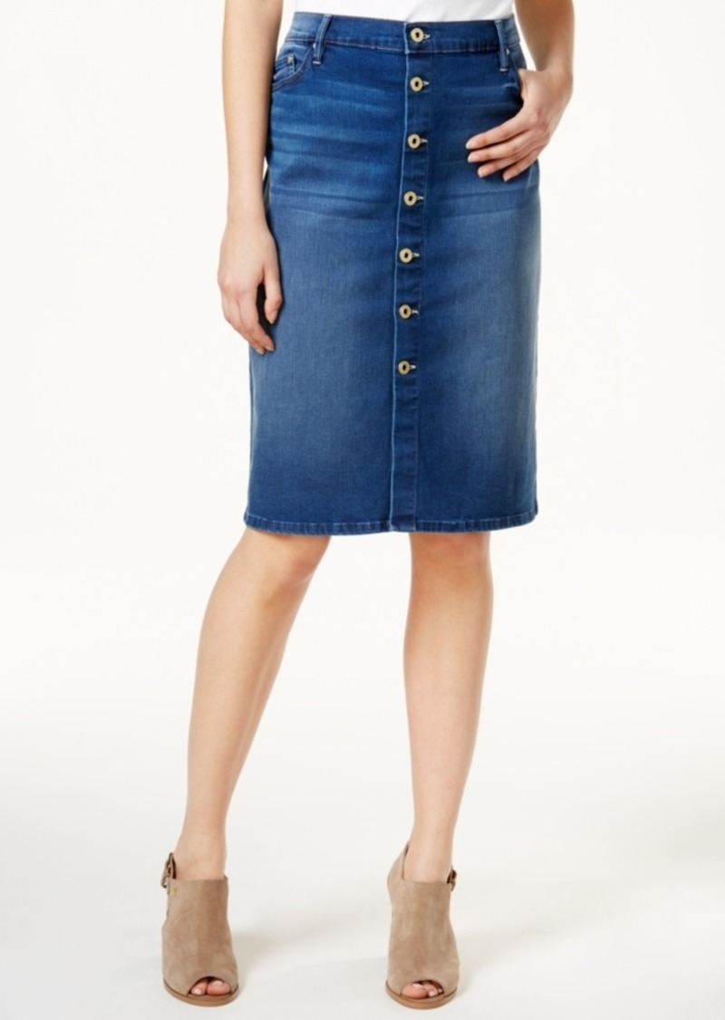 purchase authentic detailed images many styles Denim Button-Front Skirt, Only at Macy's