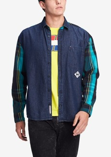 Tommy Hilfiger Denim Men's Chad Colorblocked Plaid Denim Shirt, Created for Macy's