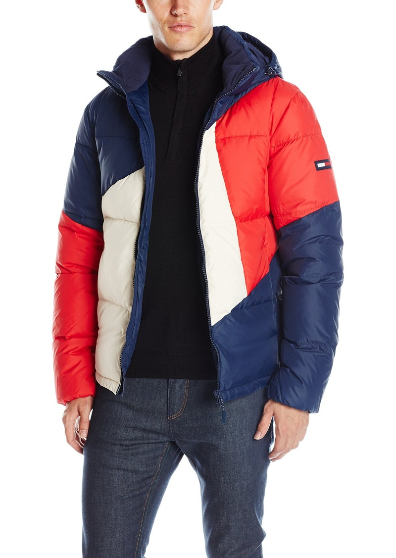 3b597f5f0d664 Denim Men s Full Zip Padded Colorblock Hooded Puffer Jacket. Tommy Hilfiger