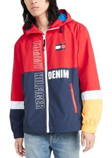 Tommy Hilfiger Denim Men's Lewis Colorblocked Logo-Print Hooded Raincoat