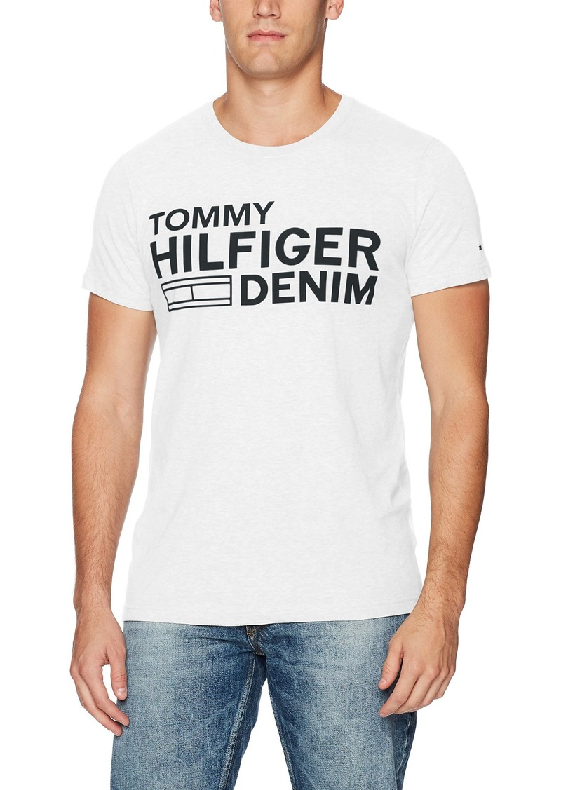 Tommy Hilfiger Denim Men's Logo T-Shirt with Short Sleeves classic white