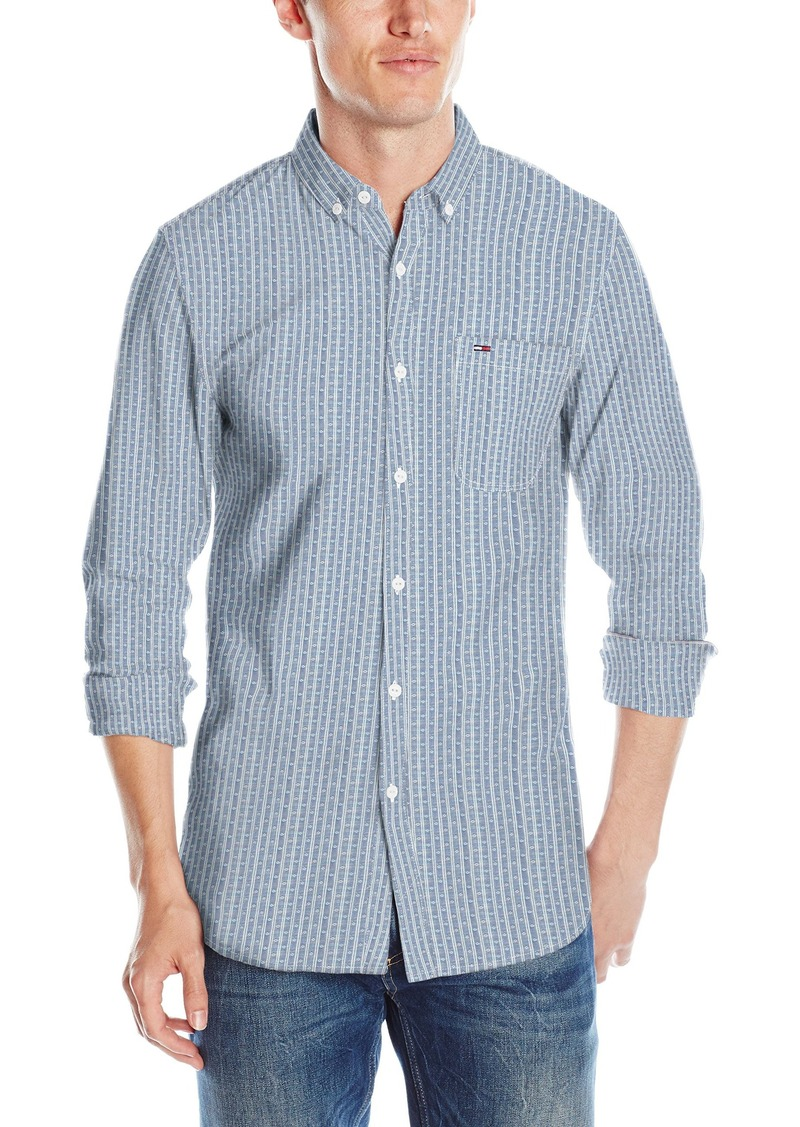 6dbe4014 Denim Men's Long Sleeve Striped Cotton Chambray Button Down Shirt. Tommy  Hilfiger