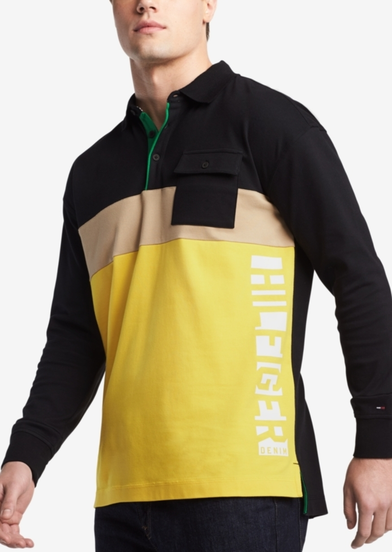 d7232b7d Denim Men's Peter Oversized Colorblocked Logo-Print Pocket Polo. Tommy  Hilfiger