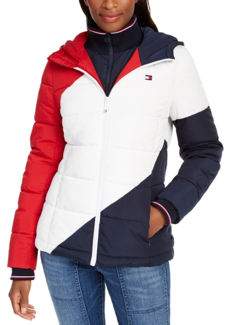 Tommy Hilfiger Diagonal Striped Puffer Jacket