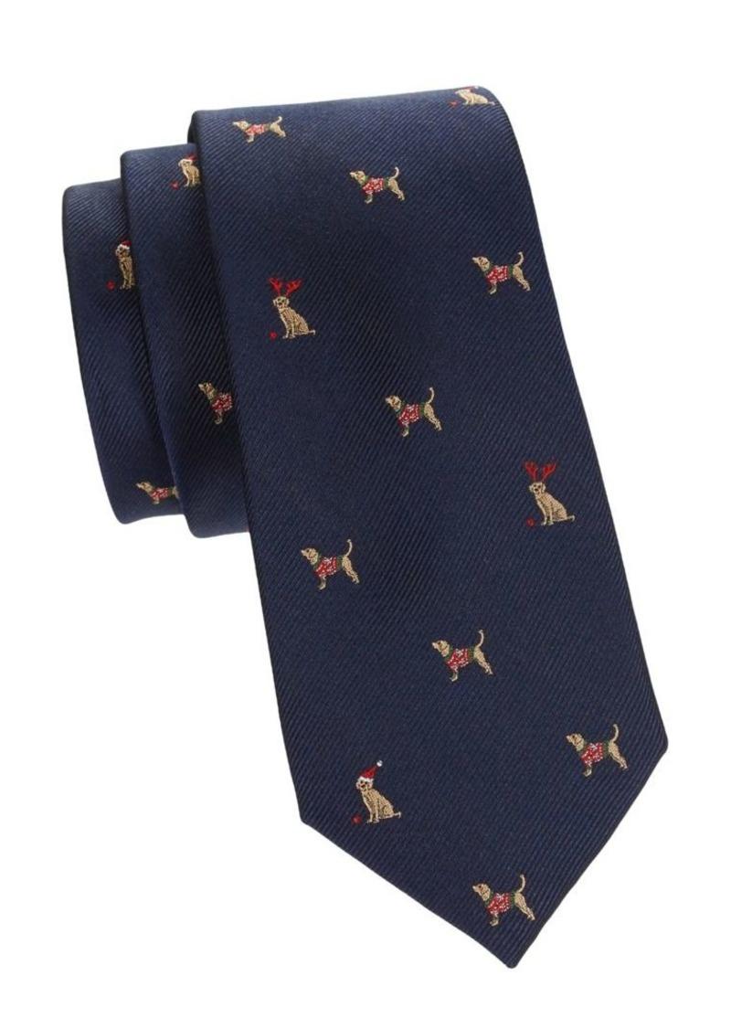 Tommy Hilfiger Dog-Print Silk-Blend Tie
