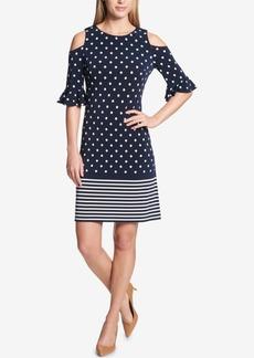Tommy Hilfiger Dots & Stripes Cold-Shoulder Sheath Dress