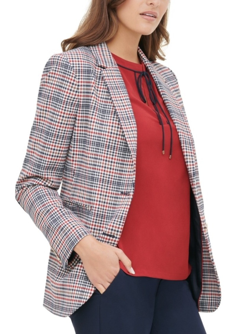 Tommy Hilfiger Elbow-Patch Plaid Blazer