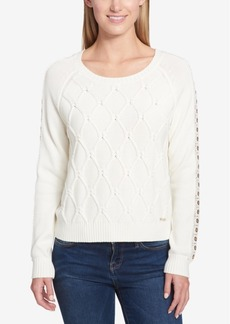 Tommy Hilfiger Embellished Cable-Knit Sweater, Created for Macy's