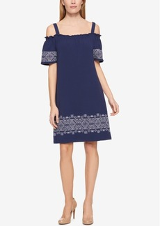 Tommy Hilfiger Embroidered Off-The-Shoulder Dress, Only at Macy's