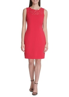 Tommy Hilfiger Embroidered Scuba Crepe Sheath Dress