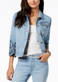 Tommy Hilfiger Embroidered-Sleeve Denim Jacket, Created for Macy's