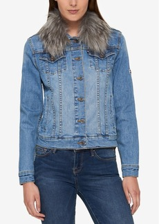 Tommy Hilfiger Faux-Fur-Collar Denim Jacket, Created for Macy's