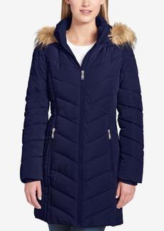 Tommy Hilfiger Faux-Fur-Trim Chevron-Quilted Coat