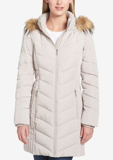 Tommy Hilfiger Petite Faux-Fur-Trim Chevron-Quilted Puffer Coat