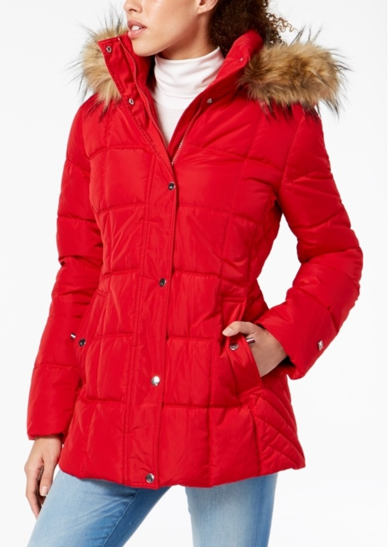 Tommy Hilfiger Hooded Faux-Fur-Trim Puffer Coat, Created For Macy's