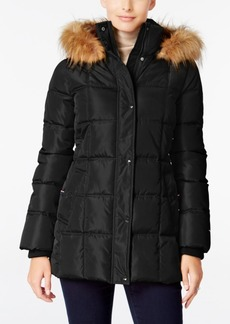 Tommy Hilfiger Faux-Fur-Trim Hooded Puffer Coat, Only at Macy's